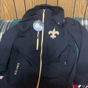Men's NFL Saints football Jacket size large hooded